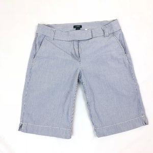 J. Crew Women's City Fit Blue White Striped Shorts